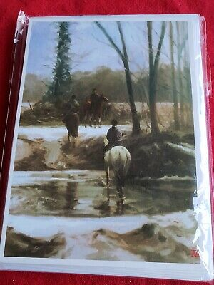 £2.50 • Buy Christmas Cards - Wholesale - Pack 10 Cards Horses Crossing River Painting