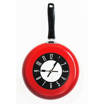 10  25cm HOME DECOR KITCHEN WALL CLOCK FRYING PAN SMALL NOVELTY DESIGN METAL • 18.98£