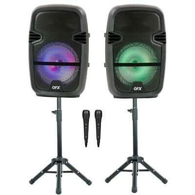 $ CDN223.35 • Buy QFX Twin 8-in Bluetooth Wireless Stereo Speaker Bundle With Stands And Wireless