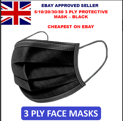 5/10/20/30/50 3 Ply Black Disposable Face Masks Non-medical Surgical Mask  • 5.67£