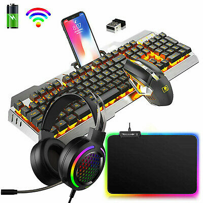 AU107.78 • Buy 4in1 Wireless Gaming Keyboard Mouse Headset And RGB Mouse Pad For PC Laptop PS4