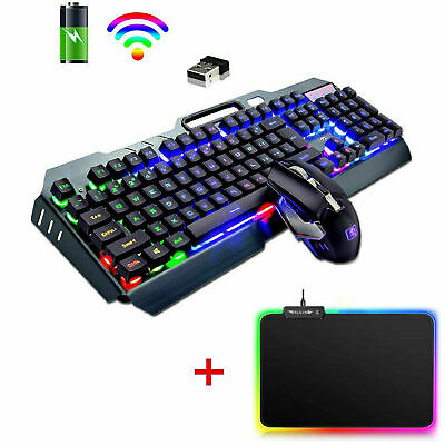 AU77.09 • Buy AU 3in1 Wireless Gaming Keyboard Mouse And RGB Mouse Pad Set Rainbow LED Backlit