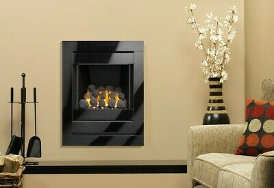 £447 • Buy Gas Fire Black Inset Full Depth Wall Inset Mounted Glass Frame Coal Fuel Bed