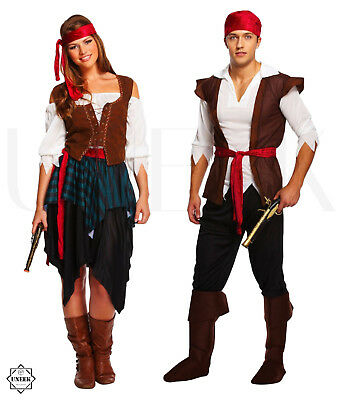 AU36.35 • Buy Adult Caribbean Pirate Fancy Dress Costume Couple Shipmate Halloween Outfit