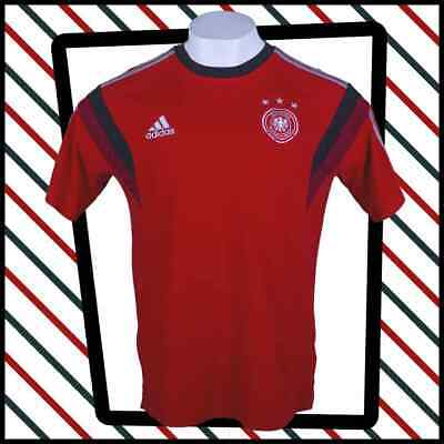 ADIDAS Red Germany Ringer Style Football T Shirt  Size Large • 12.99£