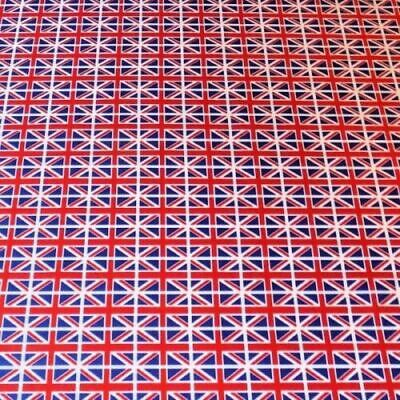 100% Cotton Poplin Fabric Rose & Hubble Mini Union Jack Flags United Kingdom UK • 6.95£