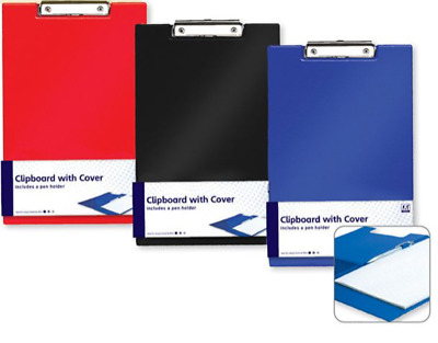 A4 Vinyl Clipboard - Fold Over Cover File Holder Folder Wallet Clip Board Strong • 2.99£