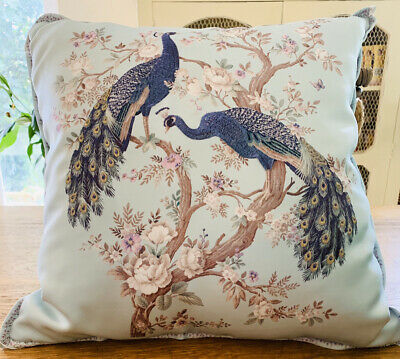 LAURA ASHLEY LARGE BELVEDERE DUCK EGG EMBROIDERED PEACOCK CUSHION BNWT 50cm X 50 • 50£