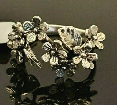 Ladies Chunky Oxidised 925 Sterling Silver Floral Flower Branch Leaf Ring Size R • 16.95£