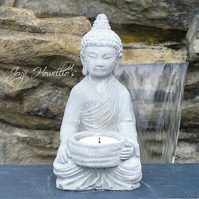 Thai BUDDHA CANDLE Tea Light Holder MEDITATING 15cm Statue Ornament Stone Effect • 9.20£