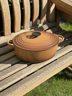 Le Creuset Vintage Oval Casserole Dish With Lid In Light Brown Cast Iron E 29cm • 35£