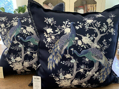Laura Ashley – Large Belvedere Midnight Blue Embroidered Peacock Cushion Bnwt • 50£