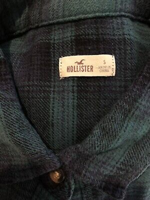HOLLISTER Green Navy Checked Long Sleeved Front Buttoned Shirt Womens Size S • 3£