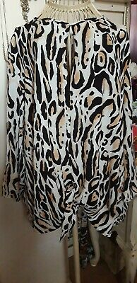River Island Animal Print Front Tie Top Size 16 • 4.63£