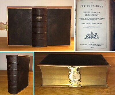 1856 Antique Leather Bible & Prayer Book With Clasp Eyre & Spottiswoode • 39.95£