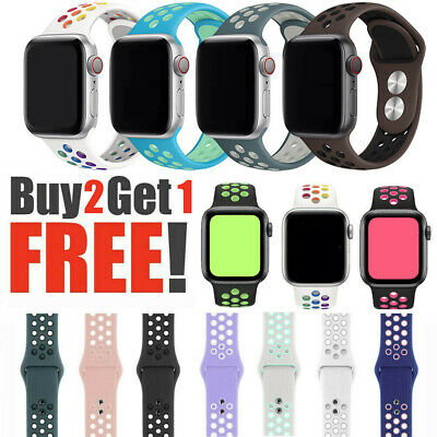 $7.59 • Buy Replacement Band Silicone Sport Band For Apple Watch Series 38mm 40mm 42mm 44mm