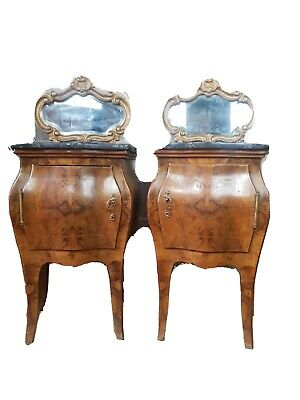 Fantastic Antique French Italian Pair Of Bombe Bedside Cabinets • 899£