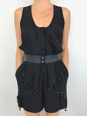 AU69 • Buy ALICE MCCALL Black Short Romper Playsuit Stretch Belt With Beading Size 8