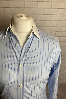 Hawes & Curtis Shirt Blue Striped Extra Slim Fit 16  - 36   Double Cuff • 8.99£