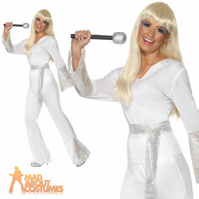 70s Disco Ladies Dancing Queen Fancy Dress Costume Super Trooper Outfit • 16.99£