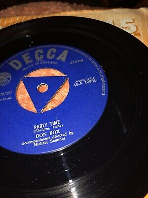 """Don Fox 1957 Party Time / Majesty Of Love - 7"""" Ex Vinyl Decca 45rpm Rare R&R • 7.50£"""