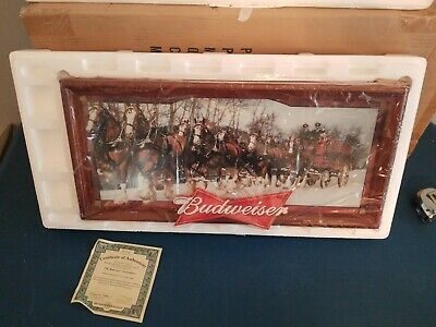 $ CDN493.61 • Buy Budweiser Beer Anheuser-Busch Clydesdale Horses Led Light Up Back Bar Sign Mib