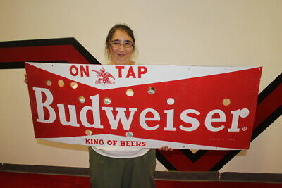 $ CDN161.54 • Buy Large Budweiser Beer Bar Tavern Gas Oil 48  Porcelain Neon Skin Metal Sign
