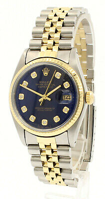 $ CDN7293.49 • Buy Mens Vintage ROLEX Oyster Perpetual Datejust 36mm Gold DIAMOND Blue Dial Watch