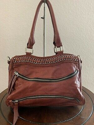 $29.99 • Buy Treesje Chain Large Plum Leather Tote Shopper Shoulder Carry-all Purse Bag