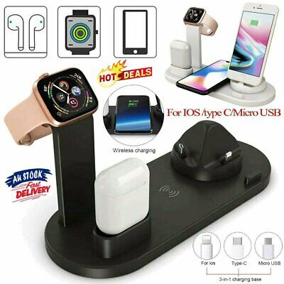 AU25.18 • Buy 3in1 Qi Wireless Charger Fast Charging Dock Stand For Airpods Apple Watch NW