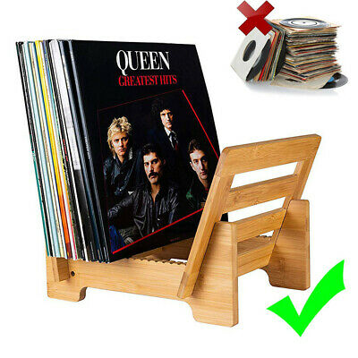 AU43.99 • Buy Sturdy Vinyl Record Display Stand Desktop LP Storage Rack Bamboo 50 Album Holder