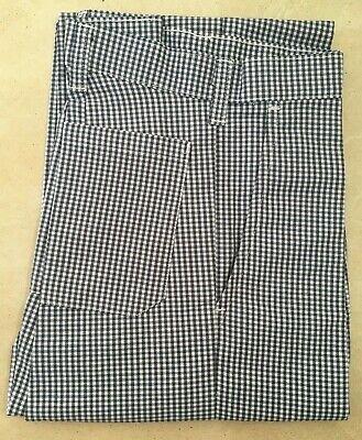 £11.91 • Buy Chef Supreme Flat Front Check Chef Trousers Pants Waist 28-40  BNWT Blue/White