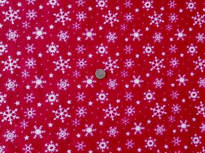 Antipil Polar Fleece Fabric - Red With Snowflake Christmas Design- 1 Full Metre • 8.95£
