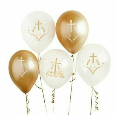 Gold White First Holy Communion Assorted Latex Balloons Party Decoration X 5 • 4.89£