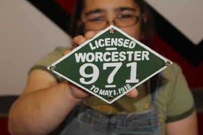 $ CDN13.12 • Buy Worchester Motorcycle 1916 License Plate Gas Oil Porcelain Metal Sign