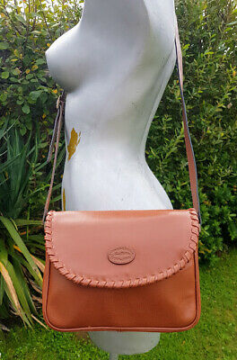 Jane Shilton Tan Brown Leather Saddle Bag Messenger Bag Cross Body Bag ~ Vgc • 8.99£