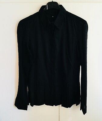 BNWT Antipodium Army Of Me Black Voile Sheer Sleeved Cotton Shirt - Size M   • 4£