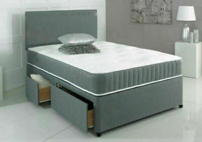 Grey Divan Bed With Memory Foam Mattress & Headboard 3FT Single 4FT6 Double 5FT • 139.99£