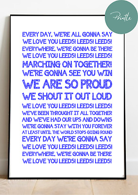 RUGBY LEAGUE Song Chant - LEEDS RHINOS Marching On Wall Art Print Gift Unframed • 5.95£