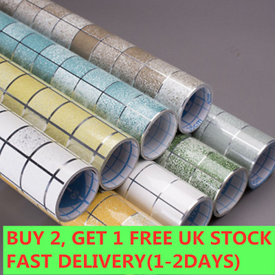 Kitchen Waterproof Anti-Oil Stick On Wall Tile Decal Sticker Self Adhesive 2M • 4.99£