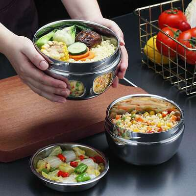 AU21.68 • Buy 1L Double Layer Bento Thermos Lunch Box Food Container Round Stainless Steel