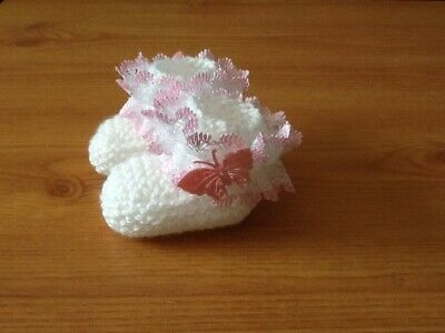 Baby Girls New Hand Knitted Booties Newborn White / Pink Lace & Butterfly • 1.99£