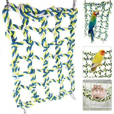 Parrot Net Pet Bird Swing Hanging Hammock Perch Toy Hamster Rope  Ladder Cages • 6.99£