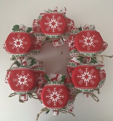 6  Homemade  Christmas Snowflake Jam Jar Covers, Labels Bands & Ties • 2.25£