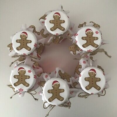 6  Homemade  Christmas Gingerbread Jam Jar Covers, Labels Bands & Ties • 2.25£