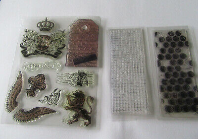 Mixed Bundle Of Clear Rubber Stamps Background Texture And Vintage Crest Wings • 0.99£