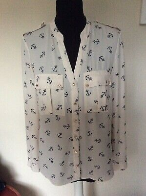 Oasis Ivory Blouse, Anchor Design, Size 10 • 4.99£
