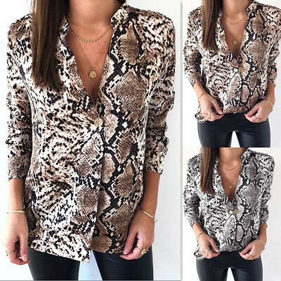 Womens Snake Print V Neck Button T Shirt Ladies Summer Baggy Casual Tops Blouse • 8.69£