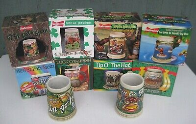 $ CDN66.66 • Buy Set Of 10 Anheuser-Busch Budweiser St. Patrick's Day Steins 1991-2000