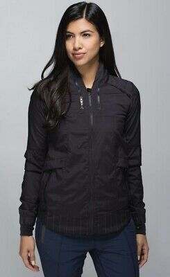 $ CDN33.03 • Buy Lululemon Sz 6 Spring Forward Jacket Sea Stripe Reflective Black Running Hiking